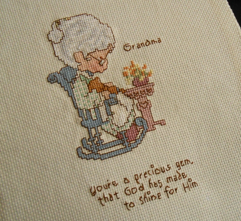 Grandmother Gift Mother/'s Day Grandma Cross Stitch Sampler Vtg Hand Embroidery Blue Brown White on Ivory Aida 8.75 x 12 Ready to Frame