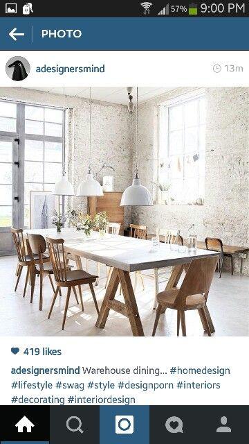 Brick walls. Table. Windows. Light fixtures. Everything.