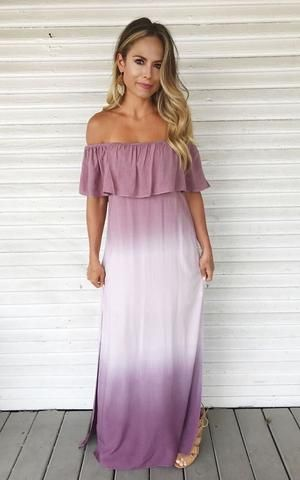 700cec71d159 Purple and white ombre off the shoulder maxi dress with ruffle top. Maxi  dress. Off the shoulder dress. Summer dress.