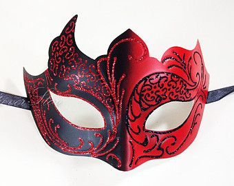 New Holiday Masquerade Mask Costume - Red and Black Glitter Themed Costume Mask with Silk Ribbons by 4everstore