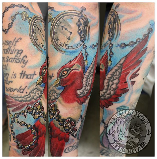bird and pocket watch tattoo