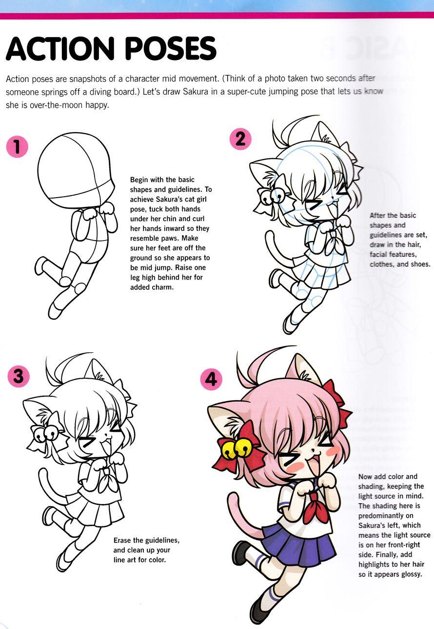 Chibi Sakura Cat Girl Pose Chibi Drawings Manga Drawing Draw