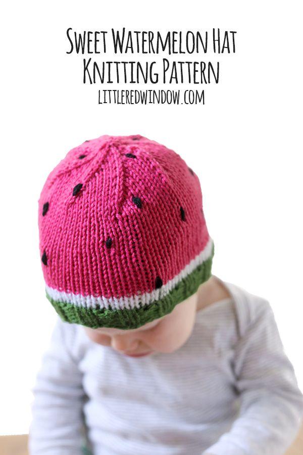 Sweet Watermelon Hat Knitting Pattern | Gorros de lana, Gorros y ...