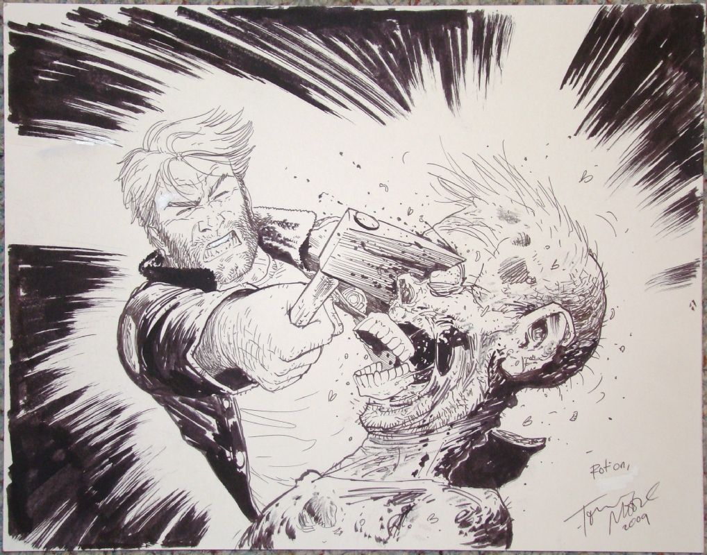 Tony Moore Rick Vs Zombie Walking Dead Comic Art The Walking