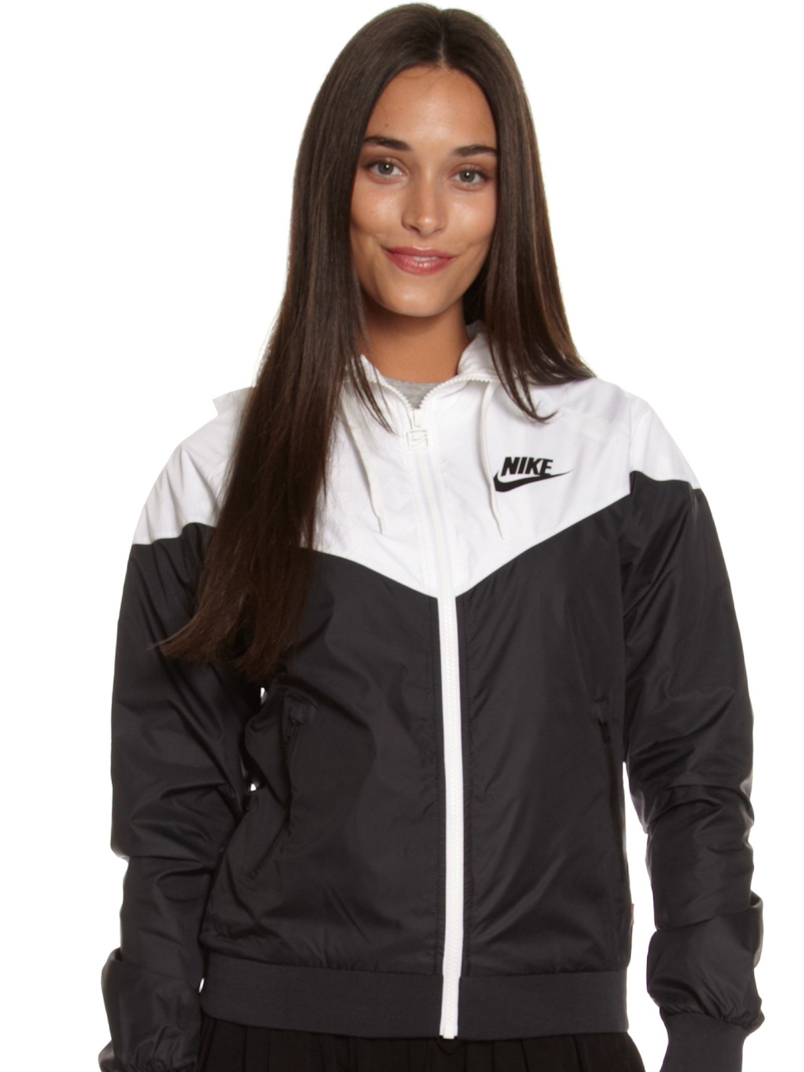 nike wind runner black and white womens