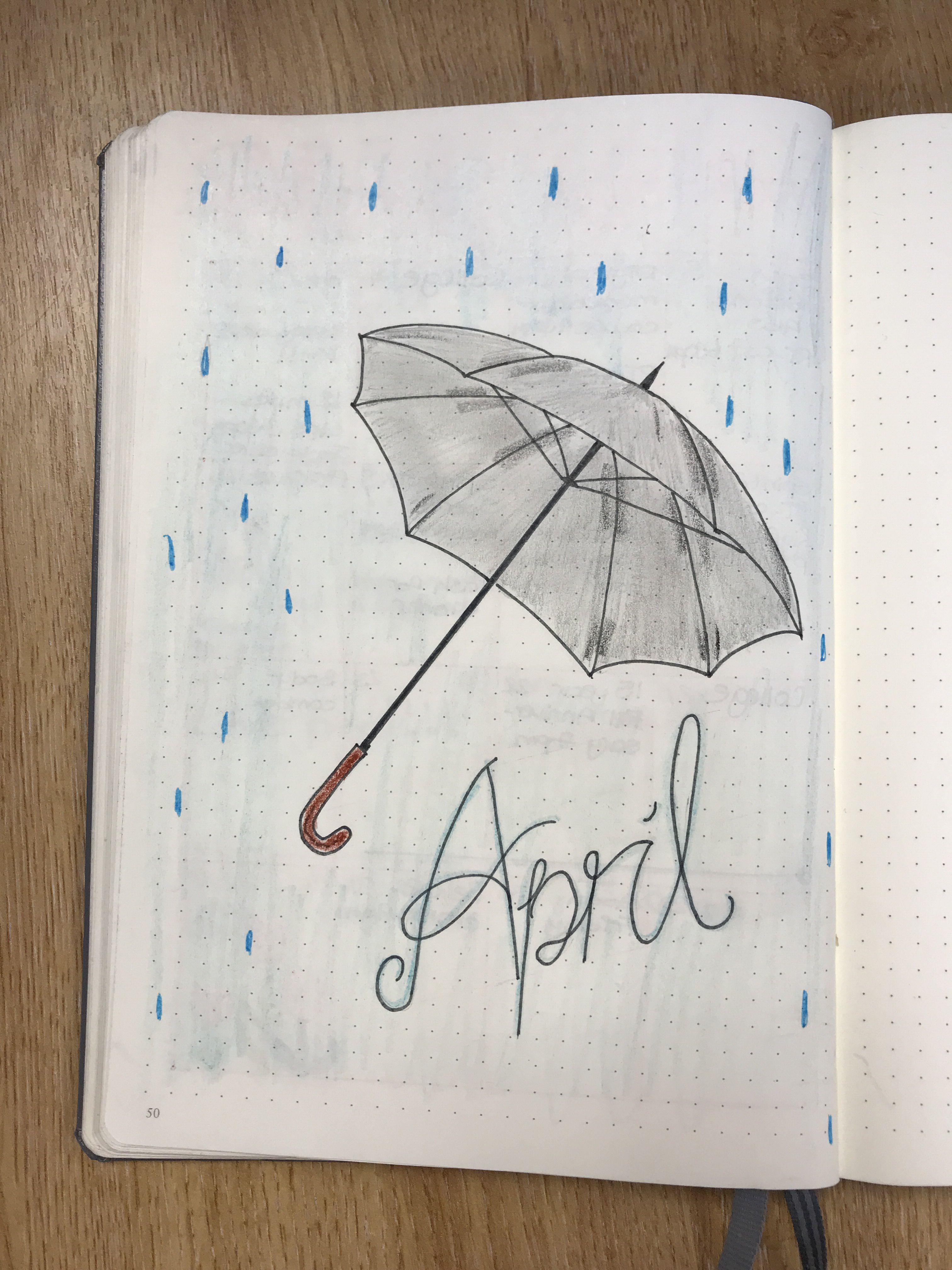 April cover page for bullet journal April Showers Aprilshowers