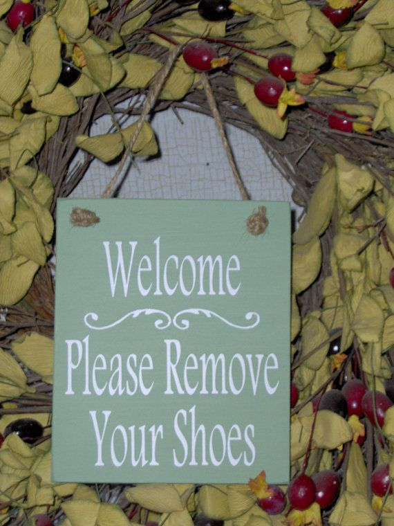 Please Remove Shoes Wood Vinyl Sign Take Off Shoes
