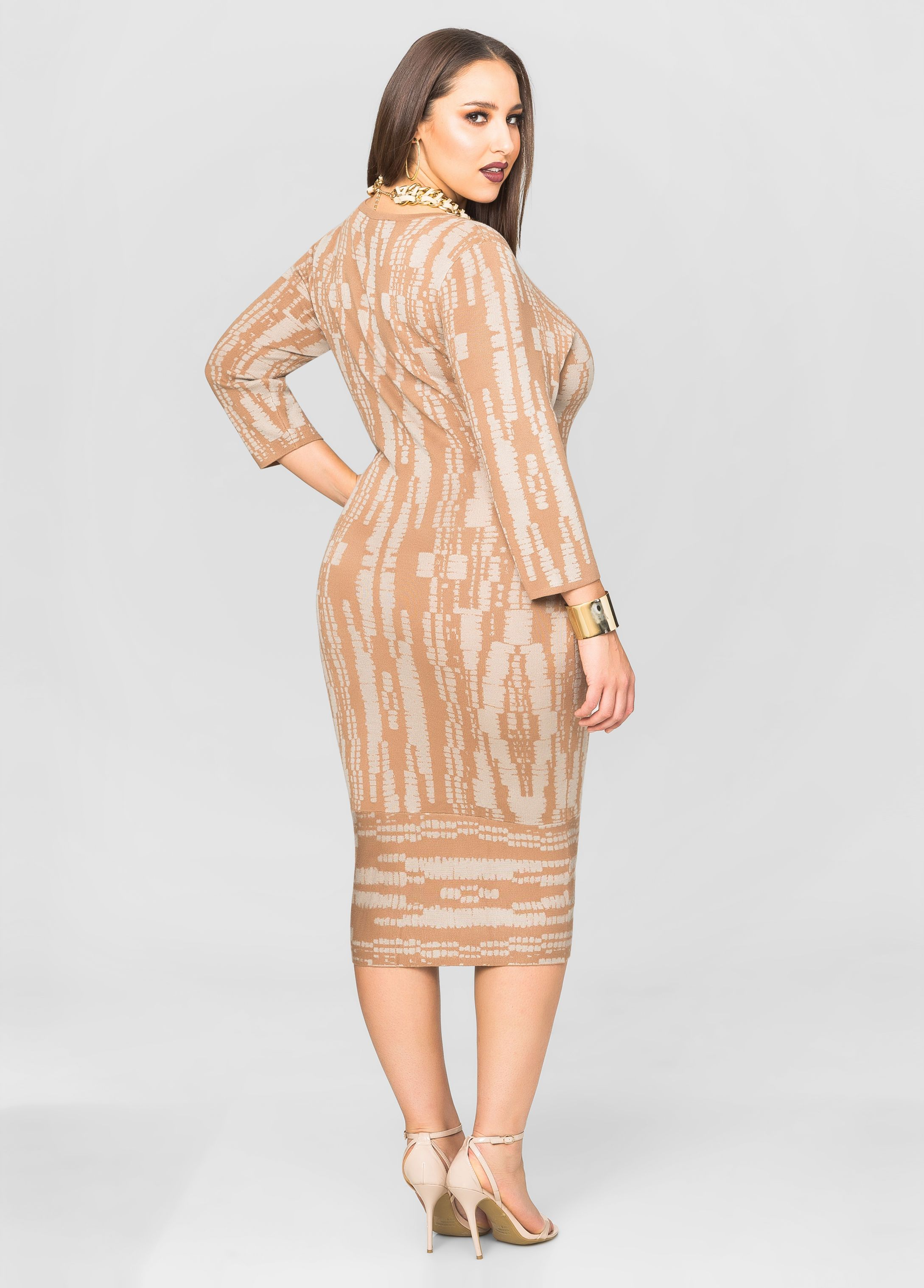 1a488146fed Grid Print Midi Dress - Ashley Stewart