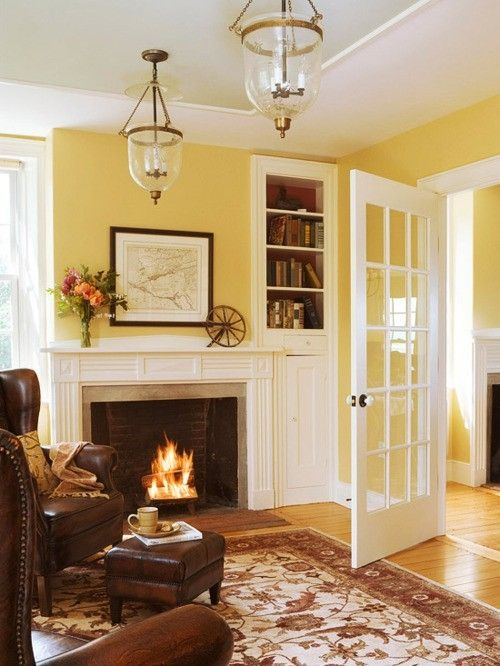 Living Room: walls Harvest Gold with white trim and dark brown ...