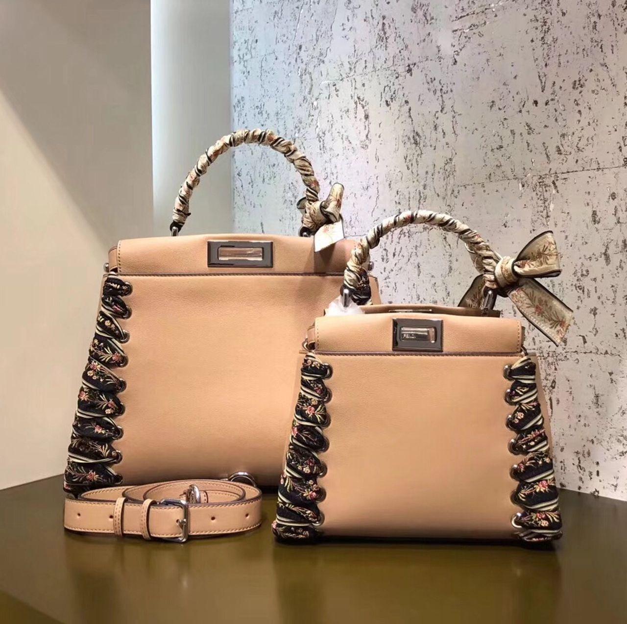 d53b38311e464 Fendi Peekaboo Small Regular Bag With Fabric Weave Apricot 2017 ...