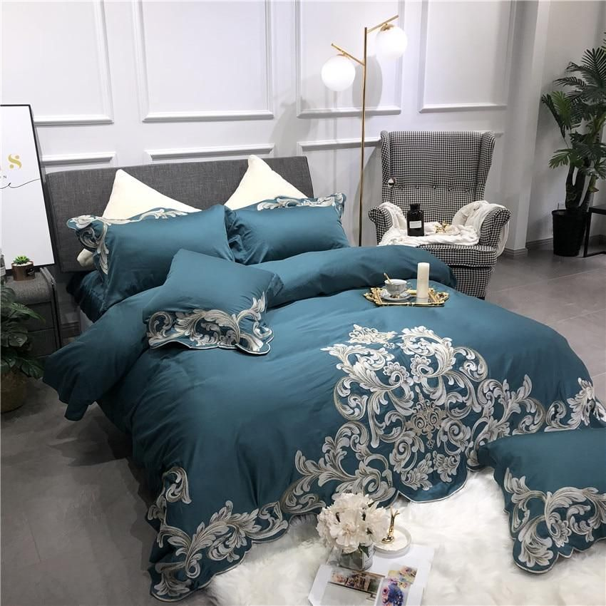 Egyptian Cotton Bedding Set With Embroidery 2 Colors Cotton