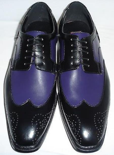 Skuvs6729 Mens Exotic Faux Eel Print Oxford Dress Shoe In Purple