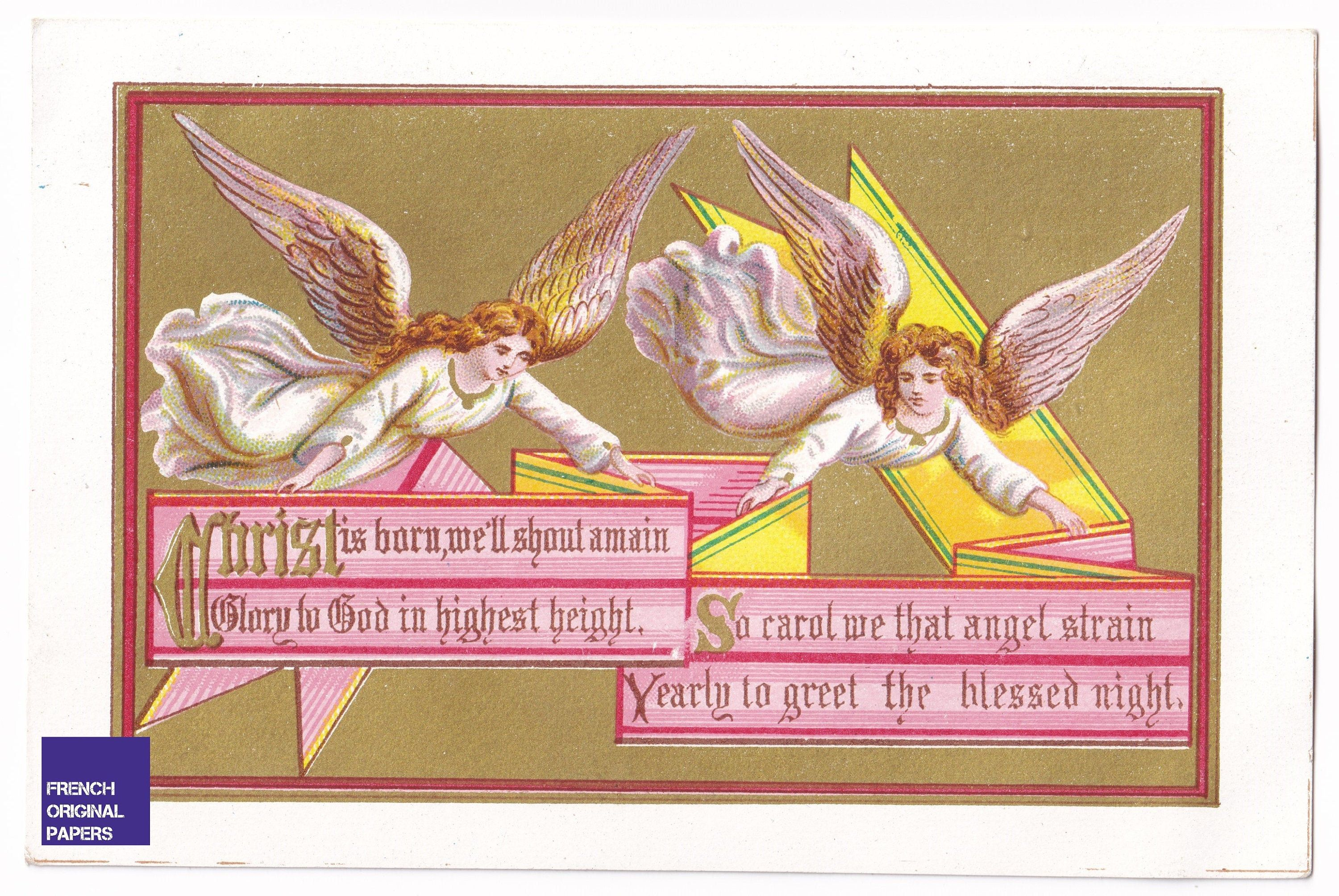 New Year & Christmas Greetings 1880s antique victorian greeting card Holy old angel graphism golden chromolithography ephemera Christ
