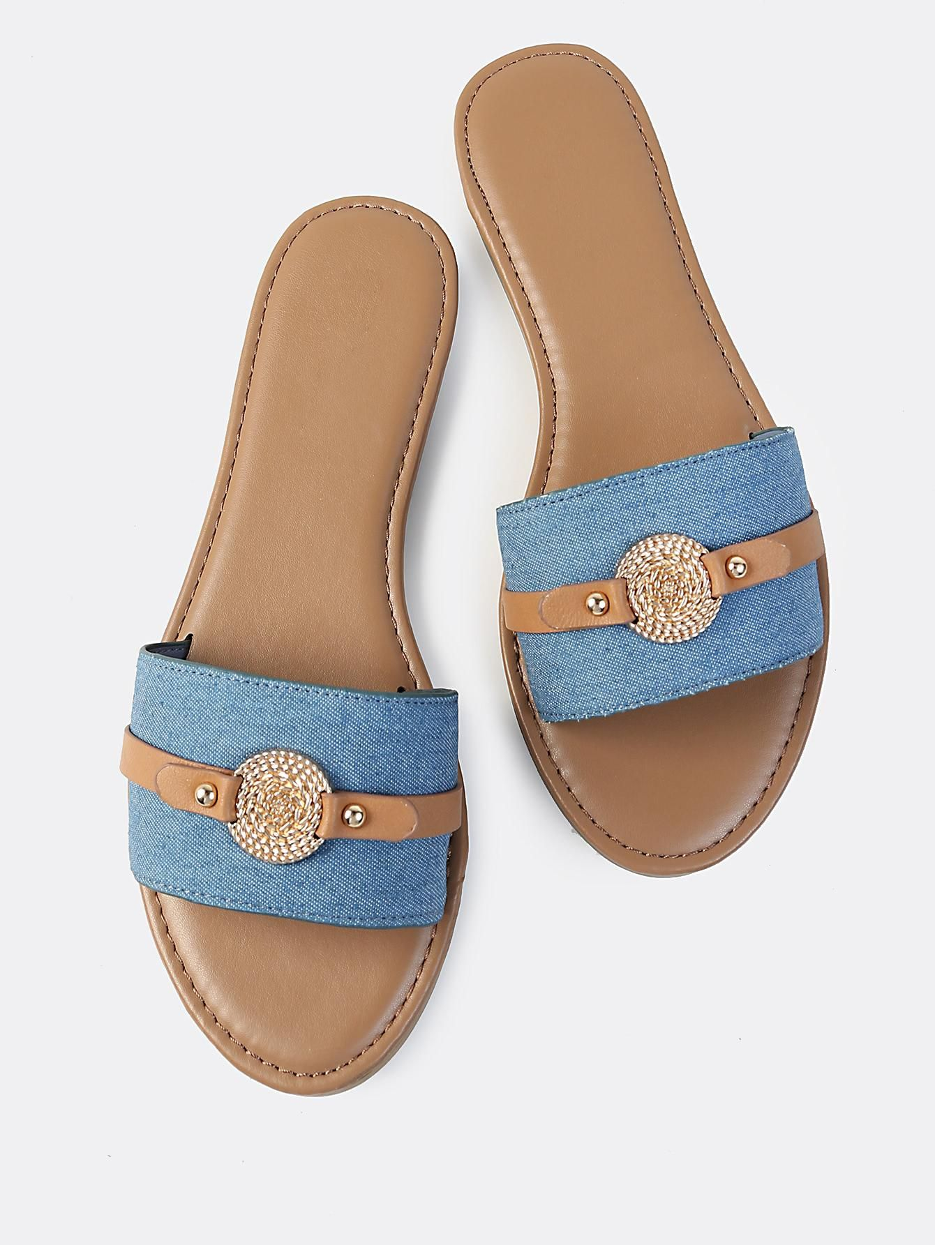 1f4d8c930ae985 MakeMeChic - MAKEMECHIC Single Band Denim Coin Slides DENIM - AdoreWe.com
