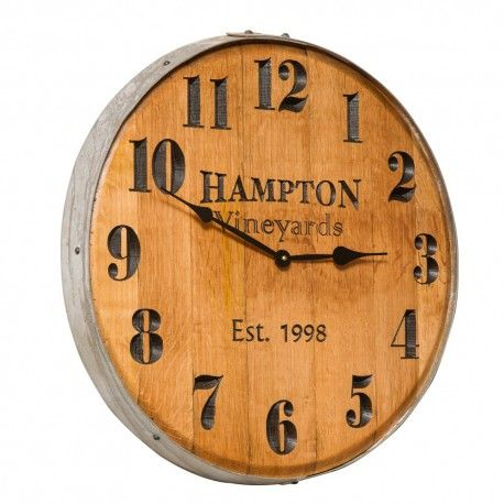 PERSONALIZED Engraved Wine Barrel Head Clock Rustic Furniture Handcrafted Decor