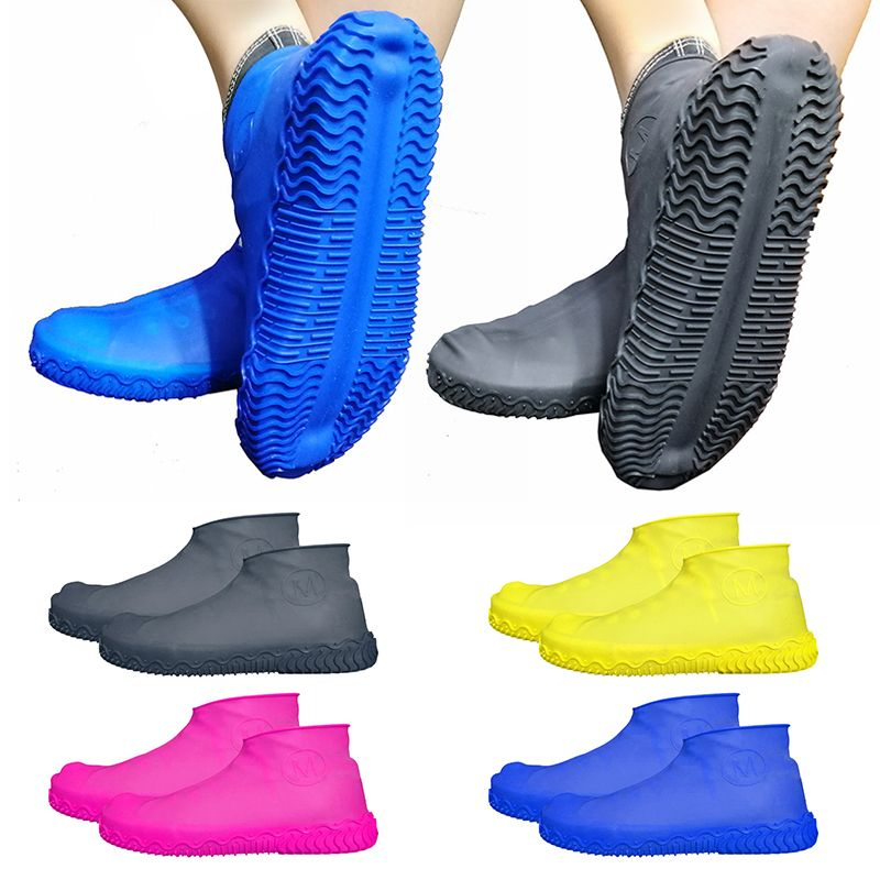 Candy Color Thicken Silicone Overshoes Rain Waterproof Shoe Covers Boot Cover