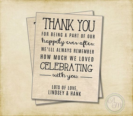 Thank You Note Wedding Gift: Wedding Thank You Note, Welcome Bag, Wedding Favor, Hotel