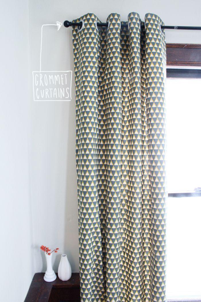 tutorial diy grommet curtains inspiration s jour pinterest tutorial escaliers et motifs. Black Bedroom Furniture Sets. Home Design Ideas