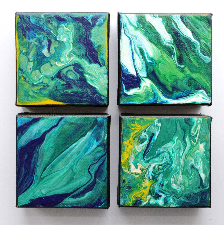 Modern abstract art mini painting fluid acrylic 18 for Abstract acrylic painting techniques on canvas