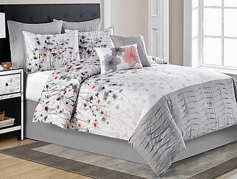 Calysta Full Comforter Set In Coral Grey Bedroom Comforter Sets Comfortable Bedroom Comforter Sets