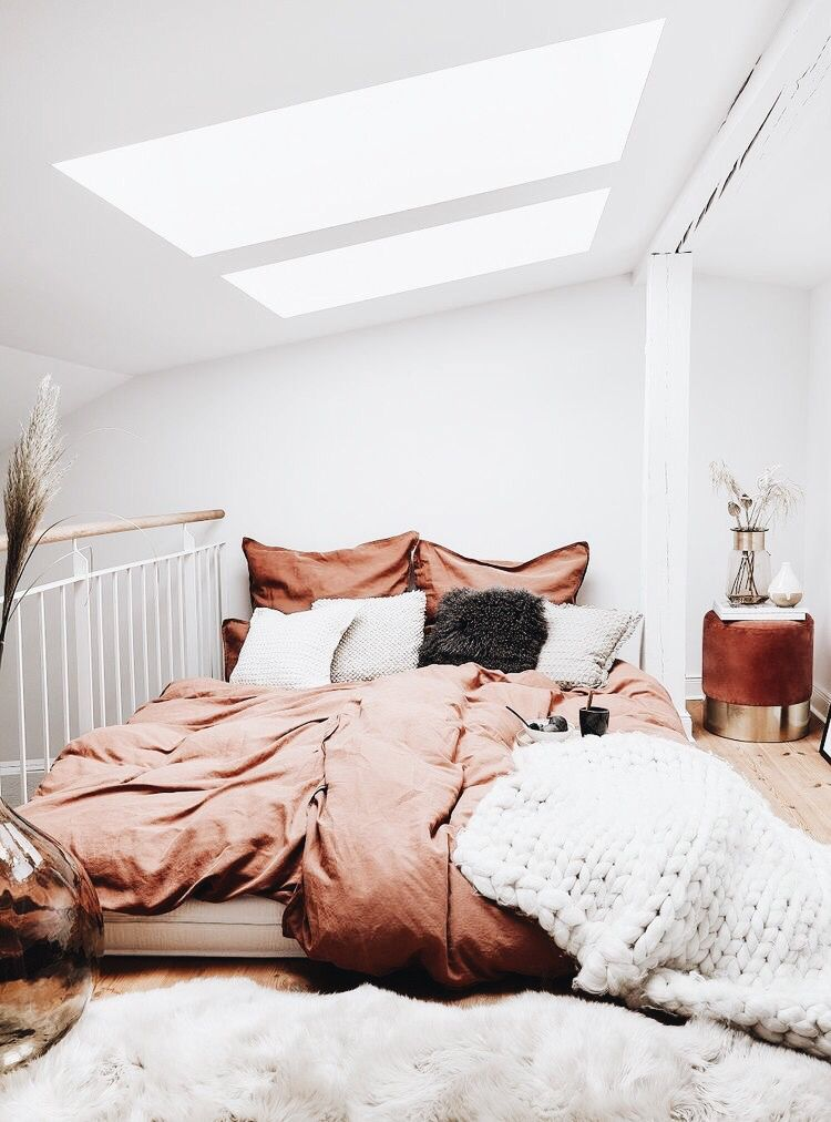 No Bed Frame White And Copper Accents Source Unknown Dreamy