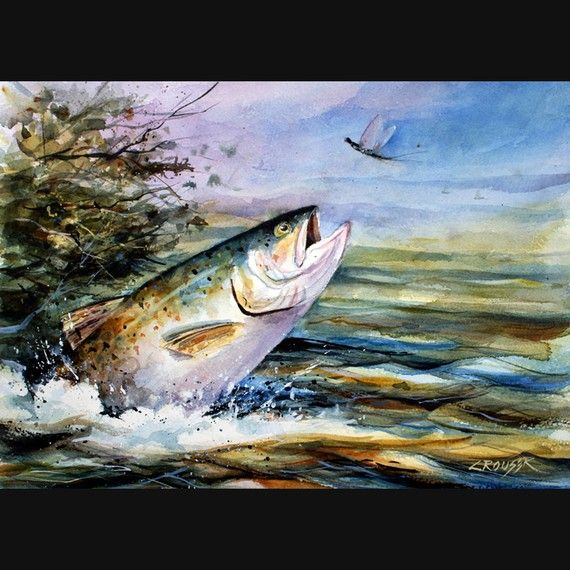 Rainbow Trout Watercolor Fish Art Print By Dean Crouser