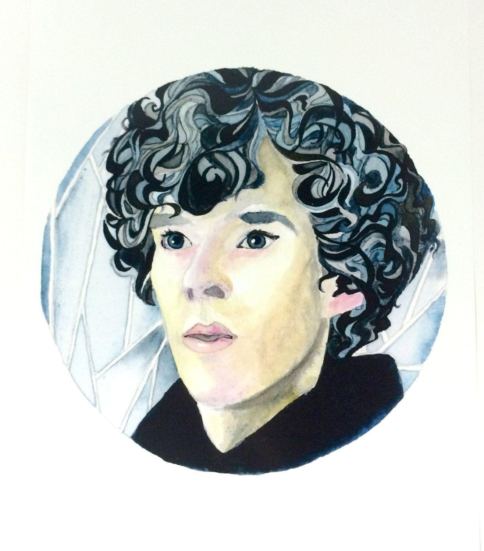 Benedict Cumberbatch as Sherlock Artist Watercolor and Ink Painting, 8.5×11 Sherlock Holmes Ink Painting Art Print, Sherlock Fan Portrait