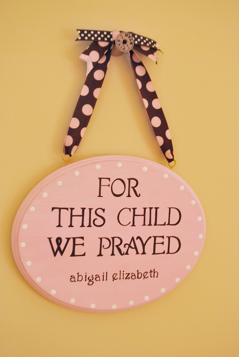 For this child we prayed plaque baby wall hanging personalized