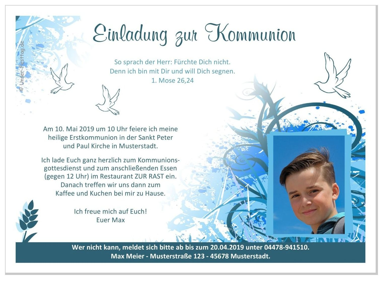 Einladungen Kommunion Fur Jungs Bunte Kringel Einladung Kommunion Einladung Kommunion Text Einladungen