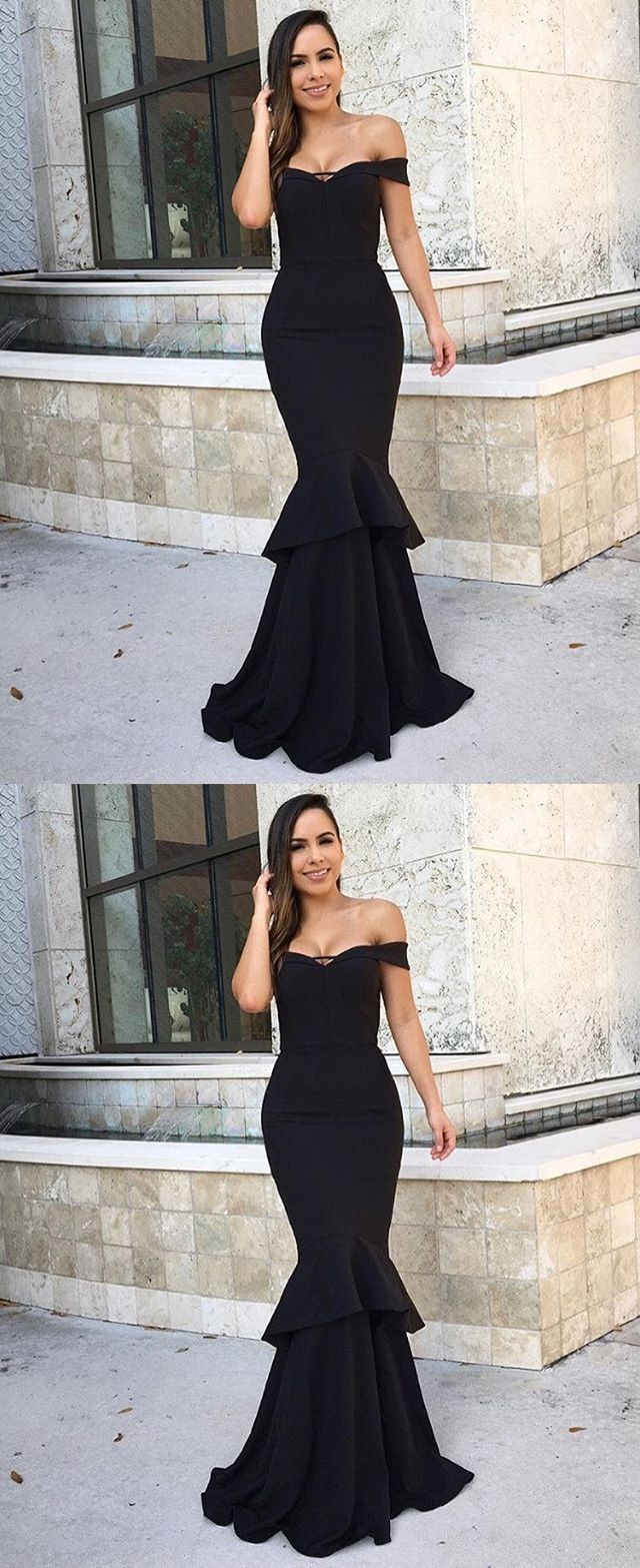 Mermaid offtheshoulder black stretch satin evening dress prom