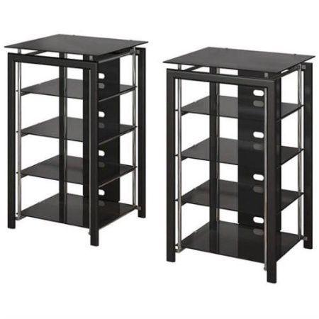 Bush Midnight Mist Audio Racks In Textured Black Set Of 2 Tempered Glass Shelves Furniture Black Bookshelf