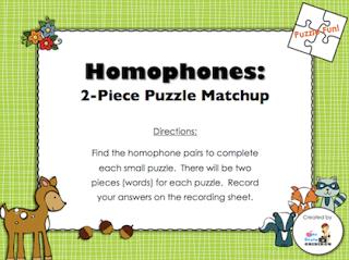 Classroom Freebies: Homophones Puzzle Matchup
