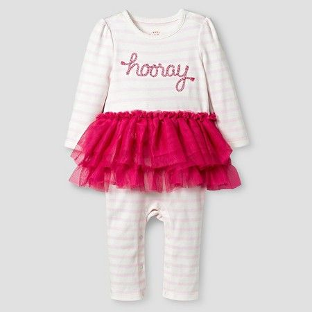 Target Baby Girl Clothes Baby Girls' Striped Longsleeve Tutu Romper Pink  Cat & Jack Baby