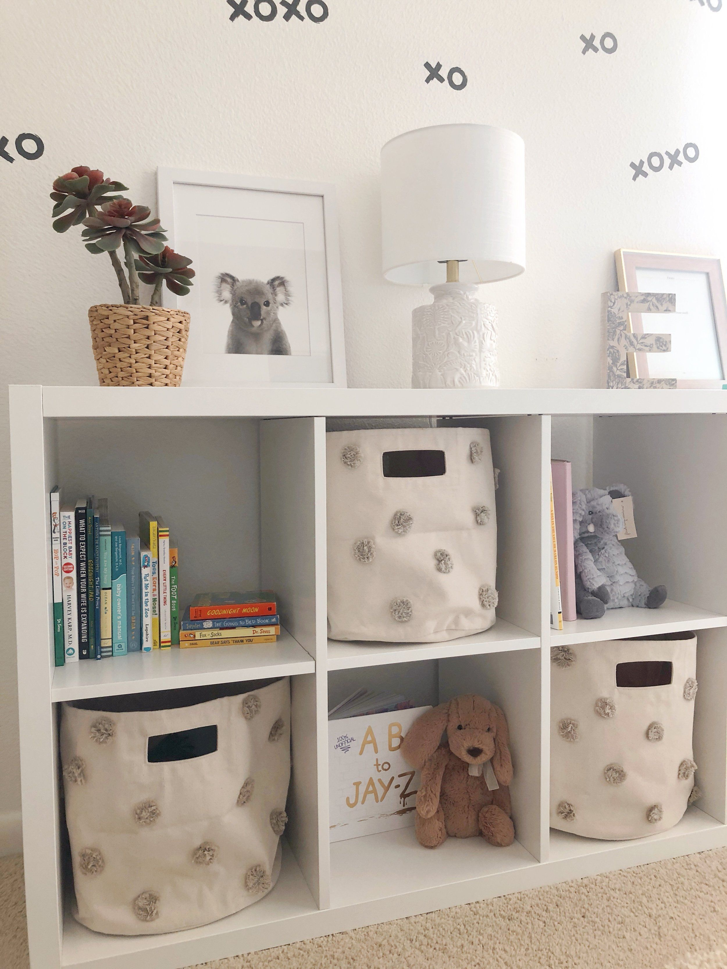 My Nursery Styling And Organization Project Was Made Simple With This White Ikea Kallax Shelf We Used It As A W Nursery Shelves Ikea Nursery Baby Room Storage