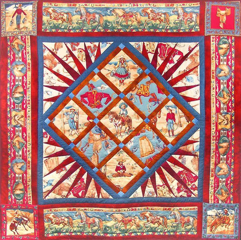Luana Rubin Vintage Cowgirl Print Quilt Free Quilt