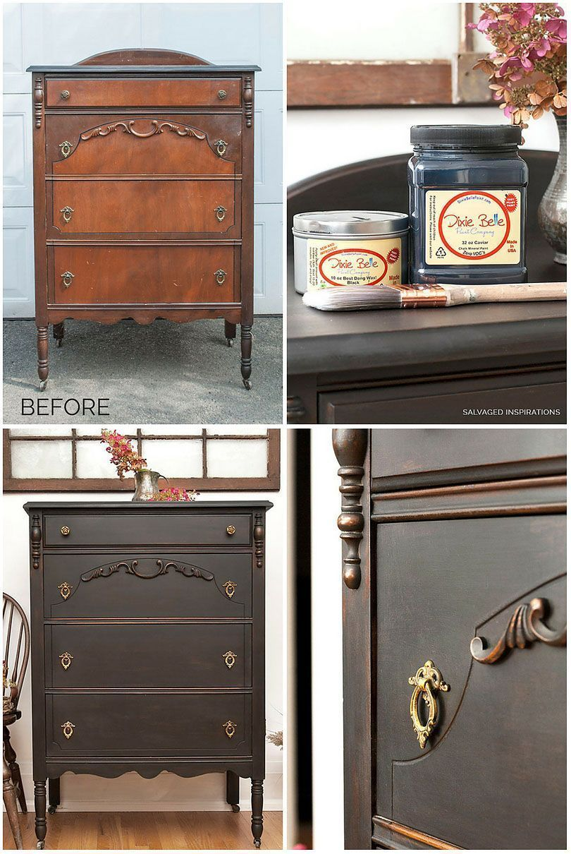 BEFORE AND AFTER VINTAGE DRESSER PAINTED IN