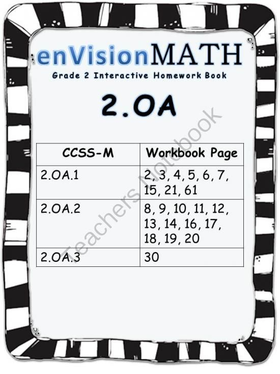2nd Grade EnVision Homework Book List To Align With CCSS M