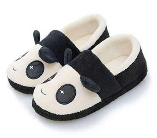 Plush panda slippers