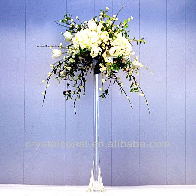 Wholesale White Decorative Frosted Tall Clear Glass Vase Wedding