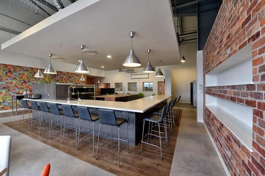 Employee break room decorating ideas bar area for Industrial office interior
