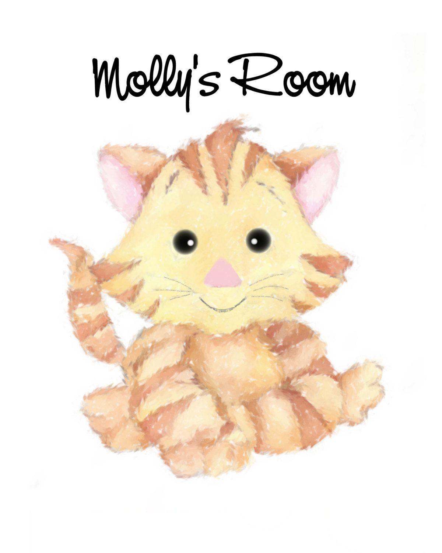 Nursery Wall Art Cat Print Kitten girl\'s or by janelizabeths | 水彩 ...