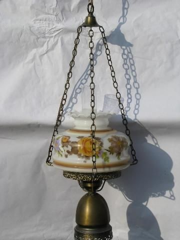 vintage swag lamp, golden roses painted glass shade hanging light