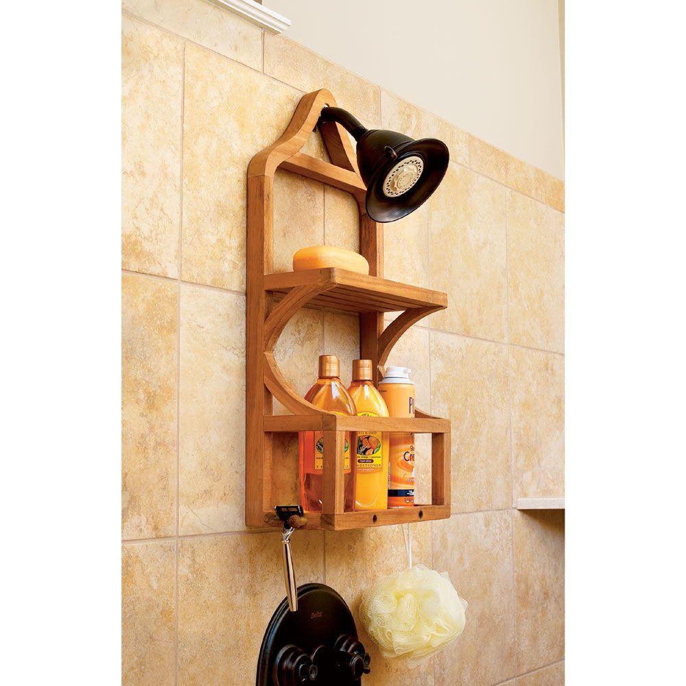 Teak Shower Organizer in 2020 Shower shelves, Shower