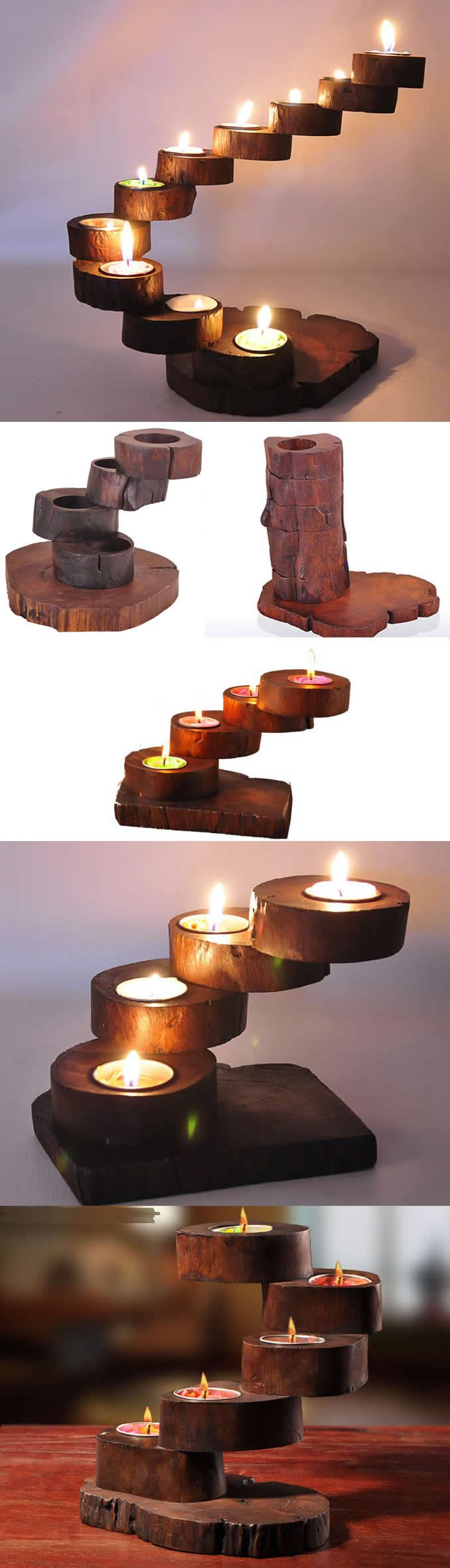 Vintage wooden spiral staircase tealight candle holder candle