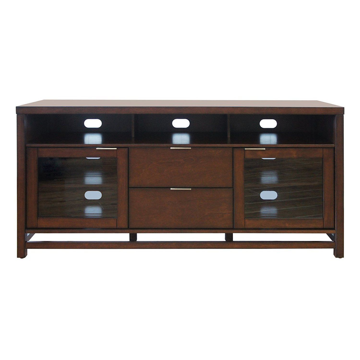 Bello Scarborough No Tools Embly Chocolate Finish Wood Audio Video Cabinet
