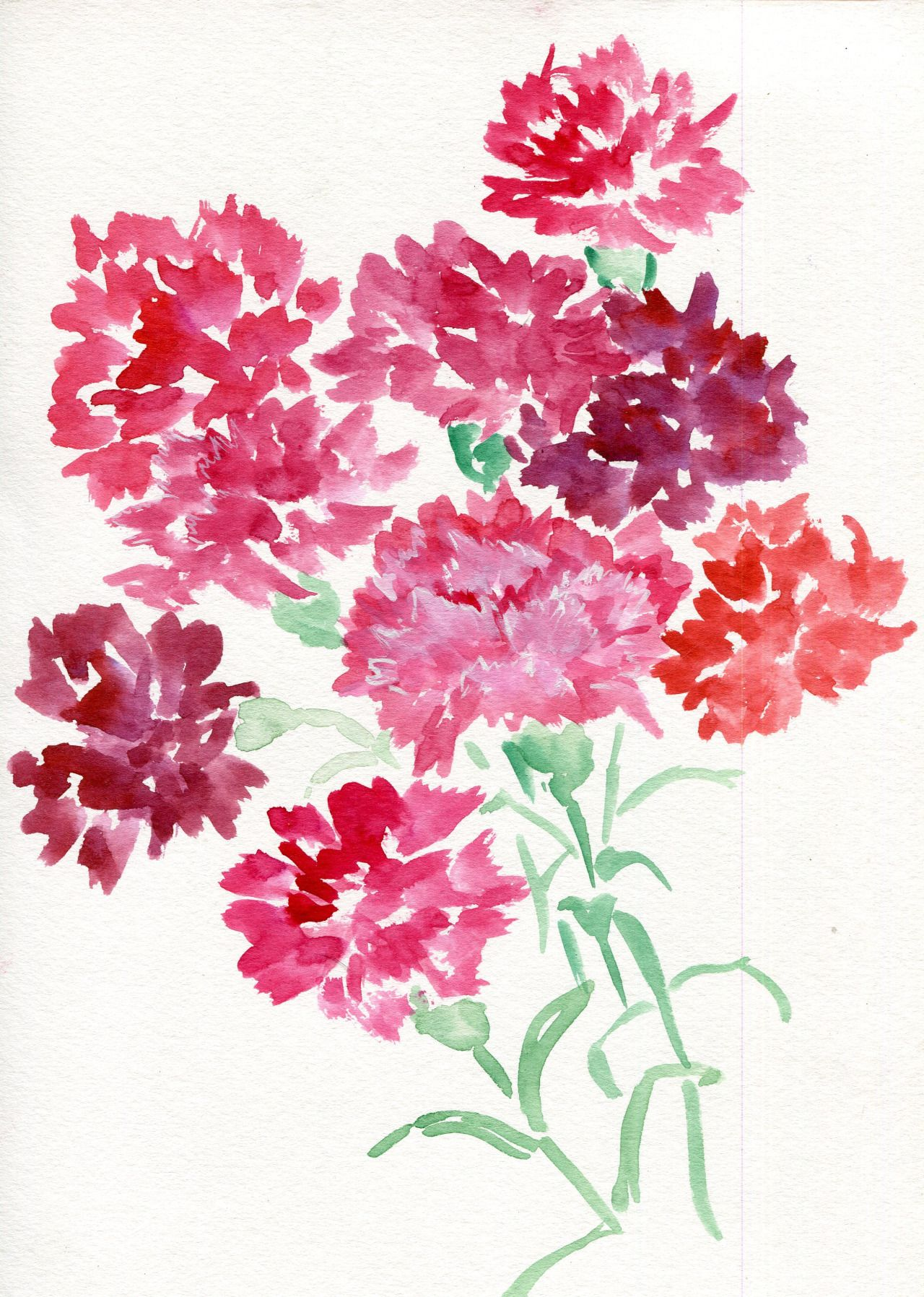 Jitterbug Watercolor On Paper 2016 9 X 12 Red Carnations On Etsy Art Abstract Flowers Beautiful Art