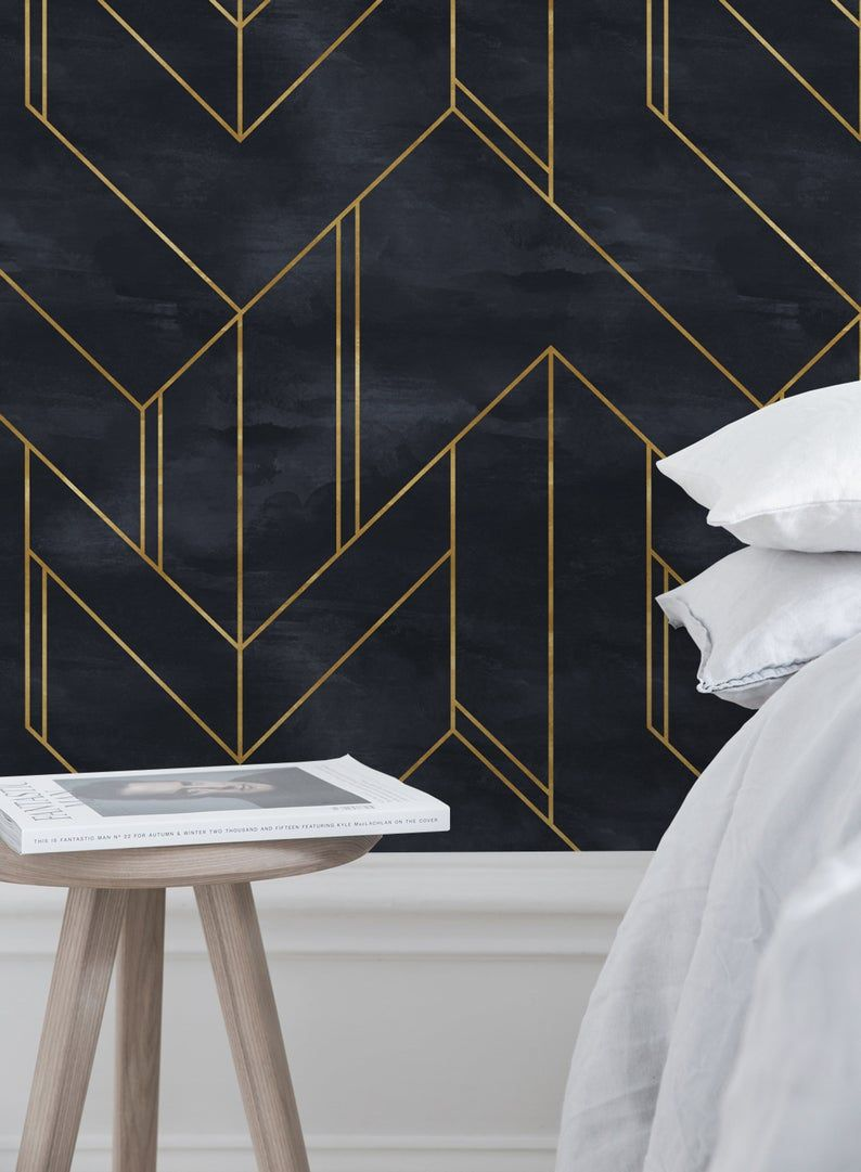 Removable Wallpaper Peel And Stick Wallpaper Wall Paper Wall Etsy Wall Wallpaper Geometric Wallpaper Geometric Wallpaper For Walls