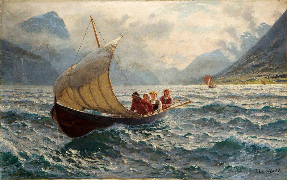 30 Beautiful Paintings Of Village Life Around Norwegian Fjords By Hans Dahl Maleri Inspirasjon Maleri Norge