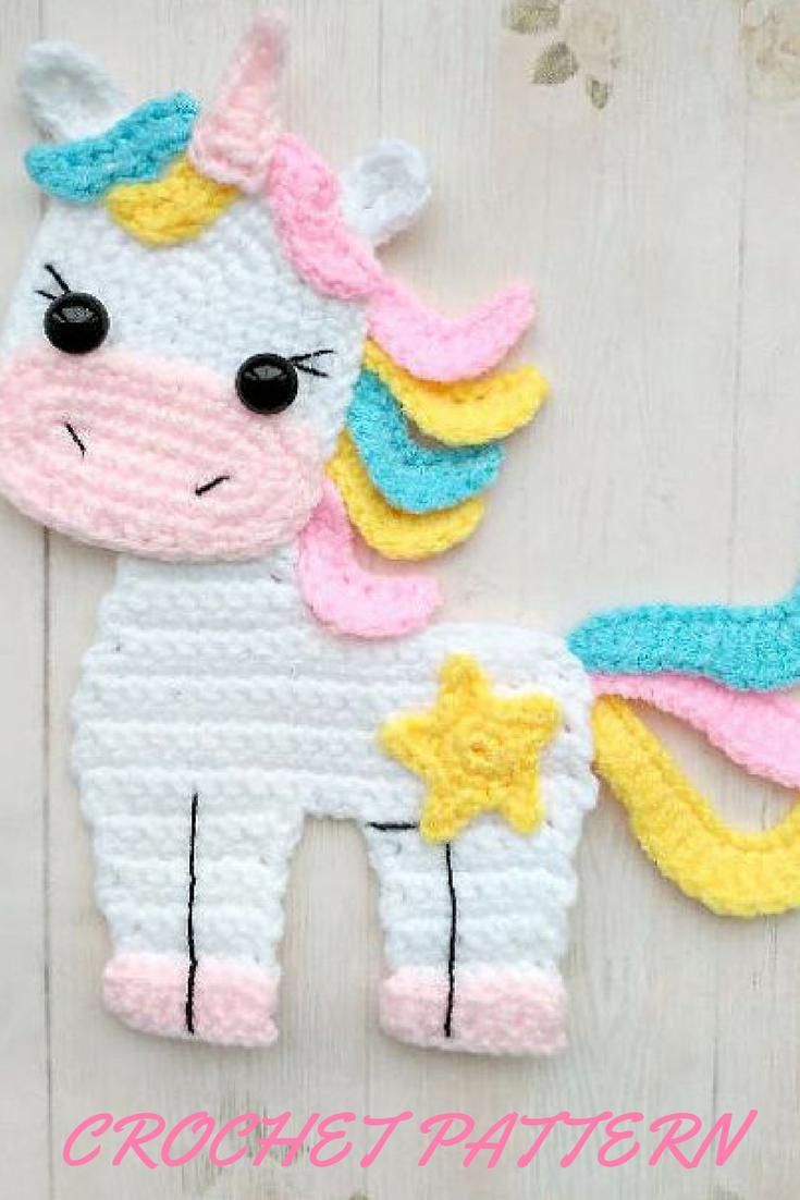 awwww how cute is this little crochet unicorn applique pattern ...