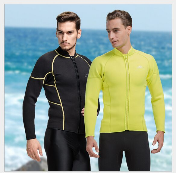 SBART 3MM Neoprene Wetsuit Jacket Men Long Sleeve Full Zipper Super Stretch  Wetsuits Tops For Surfing Keep Warm High Quality 9d96c1ae2